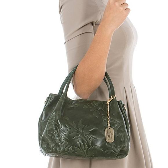 vente chaude en ligne 2845d 0aa46 Anna Morellini Green Paisley Embossed Leather Bag NWT